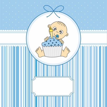 baby boy with a birthday cake. greeting card  Vector