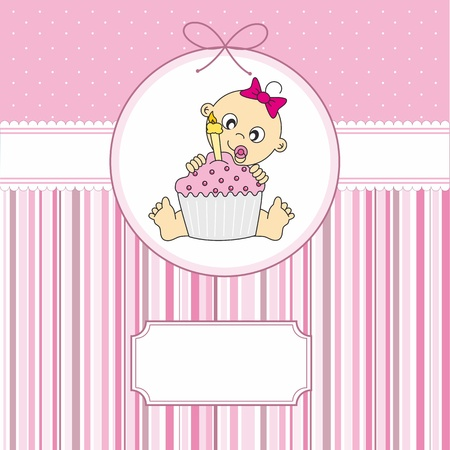 baby boy with a birthday cake. greeting card  Stock Vector - 12083823