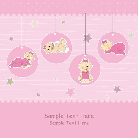 Baby girl arrival announcement card. Stock Vector - 12083825