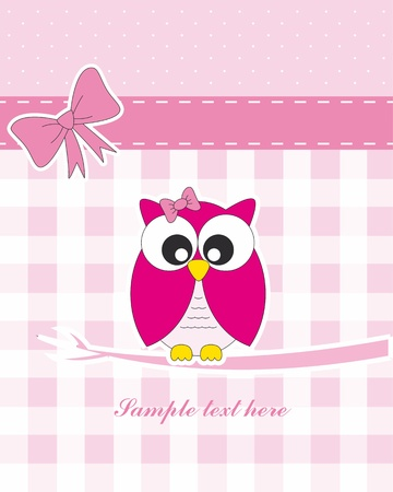 an owl: Baby girl arrival announcement card. owl