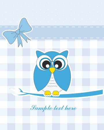 Baby boy arrival announcement card. owl Vector