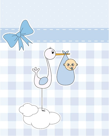 stork: Baby boy arrival announcement card. stork with newborn baby