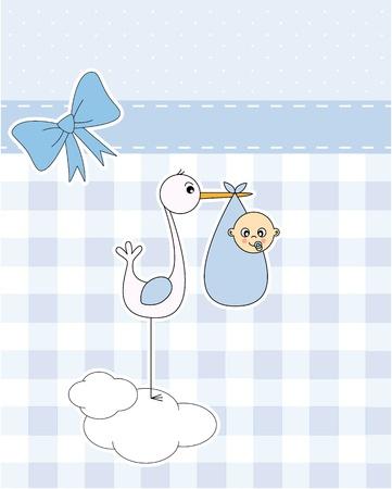 cicogna: Baby boy arrivo scheda annuncio. cicogna con neonato