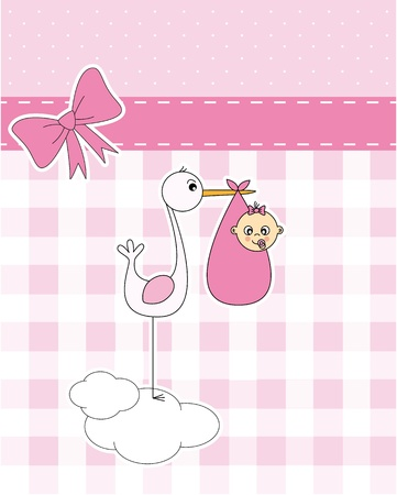 Baby girl arrival announcement card. stork with newborn baby  Vector