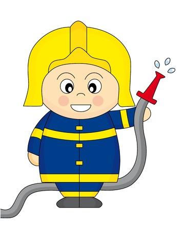 Fireman holding a fire hose Illustration