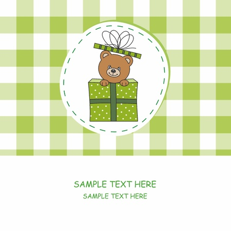Greeting card. bear out of a gift.  Vector