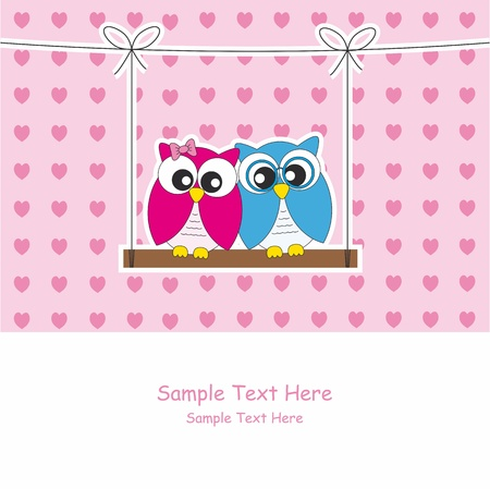 Love Card. Owls  Vector