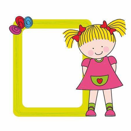editable invitation: framework baby girl Illustration