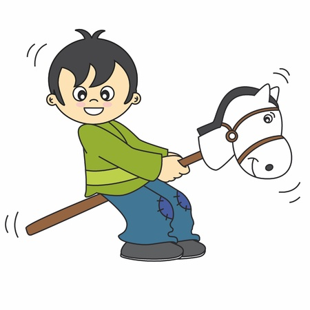 little boy playing with a wooden horse  Vector
