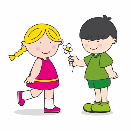 classmate: Valentine Card. Child gives a flower to a girl