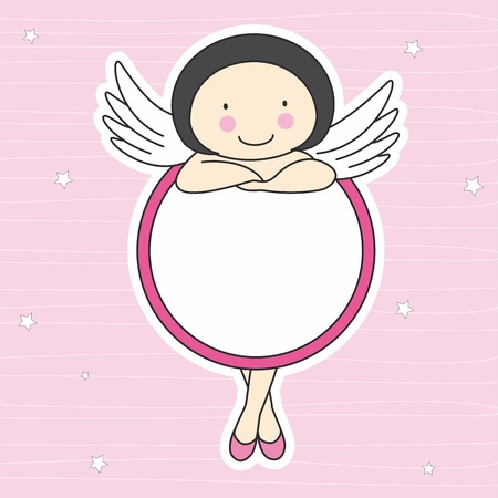 angel girl: frame fairy. Space for text or photo  Illustration