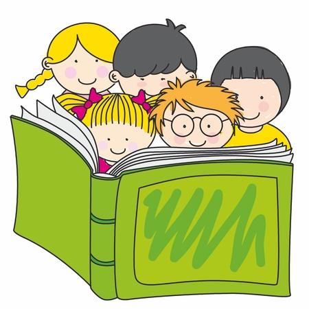 ni�os leyendo: los ni�os que leen un libro Vectores