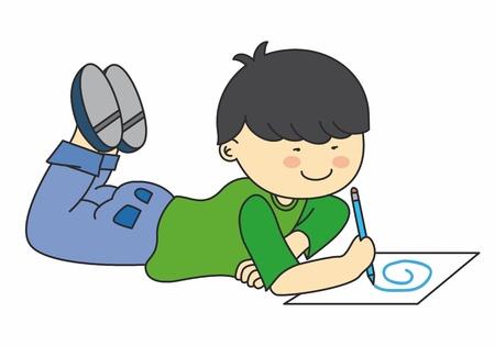 niños escribiendo: Niño de dibujo. Dibujo vectorial con fondo blanco