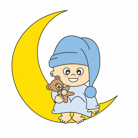 Baby boy arrival announcement card. baby boy on the moon Stock Vector - 12352590