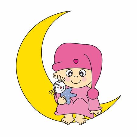 Bébé fille annonce l'arrivée de la carte. petite fille sur la lune