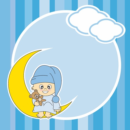 Setting baby boy sitting on the moon. Frame  Vector