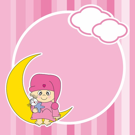 Setting baby girl sitting on the moon. Frame  Vector