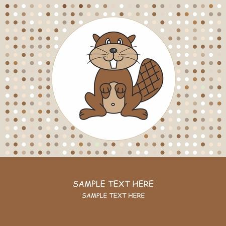 castor: Greeting card. beaver