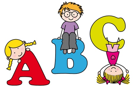 children learning the alphabet Stock Vector - 12352602