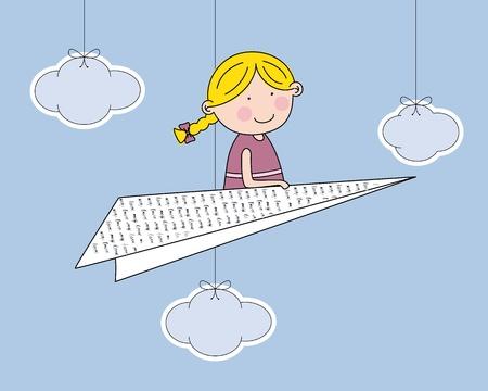 flying boat: chica volando en un barco de papel Vectores