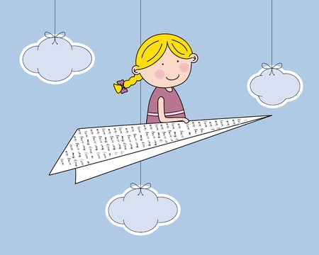 girl flying on a paper boat Vector