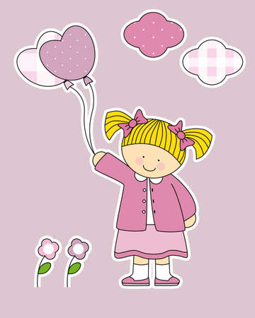 Stickers girl room  Girl with heart-shaped balloons Vector