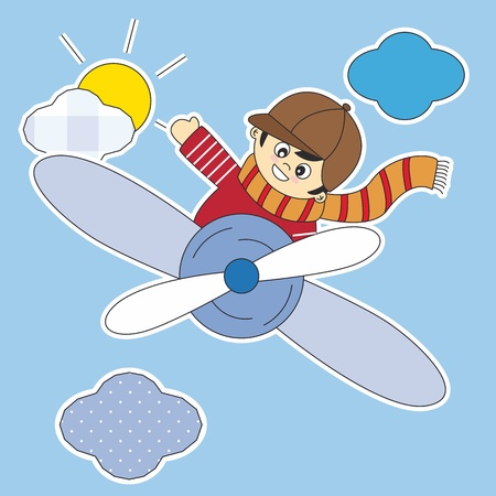 Child Flying in an airplane. Room boy Stickers Vector
