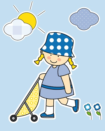 Girl walking her wrist. Stickers girl room Vector