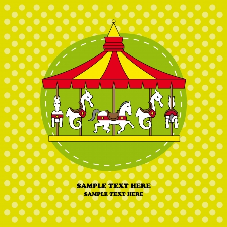 Birthday card. carousel Vector