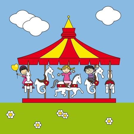 Children playing on the carousel Vector