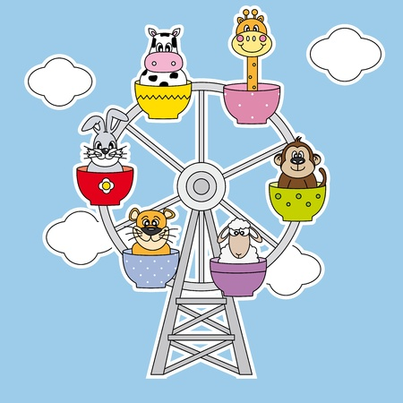 Playground. Animals above the wheels
