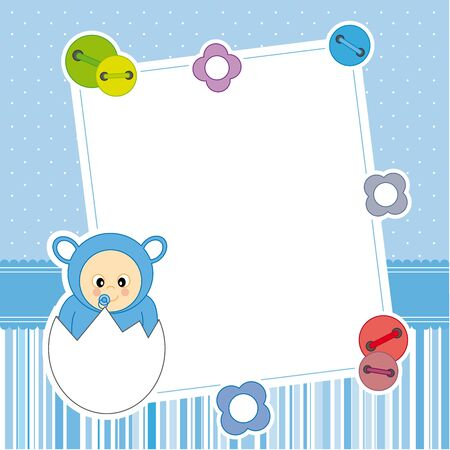 first birthday: Baby boy arrival announcement card  Frame  Illustration