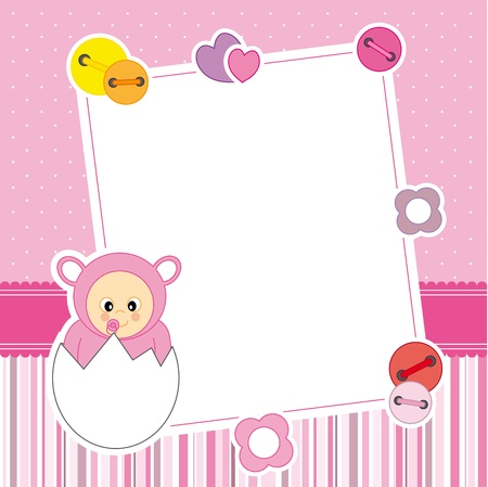 Baby girl arrival announcement card  Frame  Vector