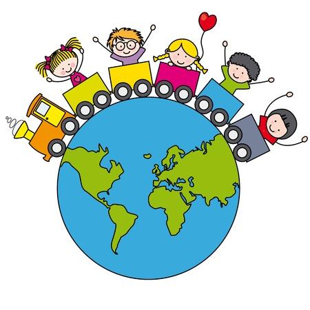 girotondo bambini: Fun Card Bambini che viaggiano in treno in tutto il mondo Vettoriali