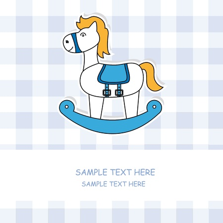 rocking horse: Cute baby card with rocking horse  Illustration