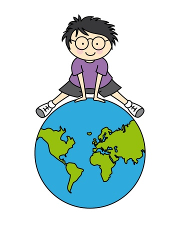 child room sticker  Boy with a globe  Stock Vector - 13159740