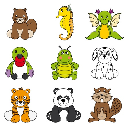worm cartoon: Vector set of different cute animals  Illustration