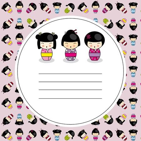 Kokeshi dolls card  Stock Vector - 13338645