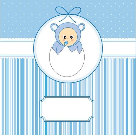 baby boy cartoon: Baby boy arrival announcement card. Baby within an egg