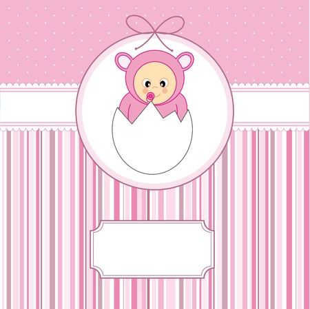 Baby girl arrival announcement card. Baby within an egg  Vector