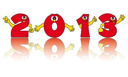 New year 2013  funny numbers and reflection  Stock Vector - 13506198