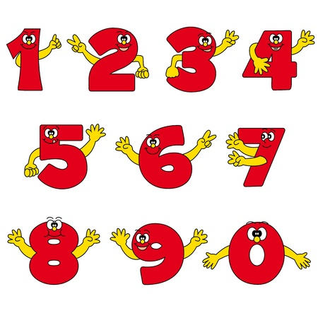funny number cartoon collection Vector