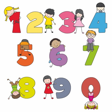 number nine: Funny numbers with children  Learning to count Illustration
