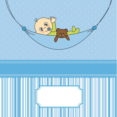 Baby boy arrival announcement card  Baby sleeping with teddy bear  Vector