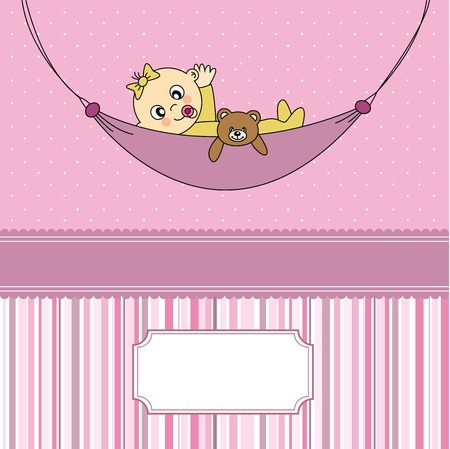 Baby girl arrival announcement card  Baby sleeping with teddy bear  Vector