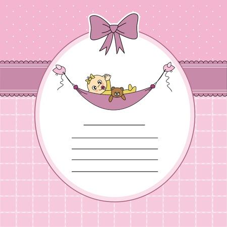 Baby girl arrival announcement card  Baby sleeping with teddy bear Stock Vector - 13633244
