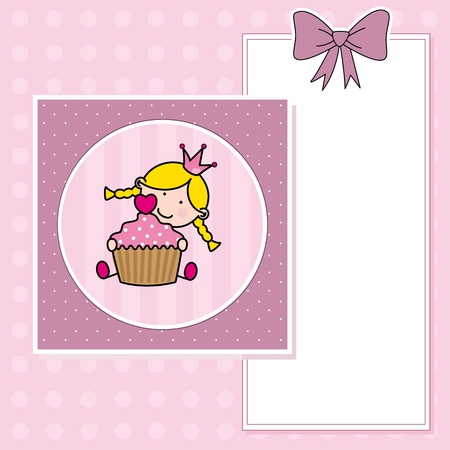 Baby girl with a muffin  greeting card  Vector