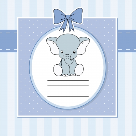 Baby arrival announcement card  Elephant Vector