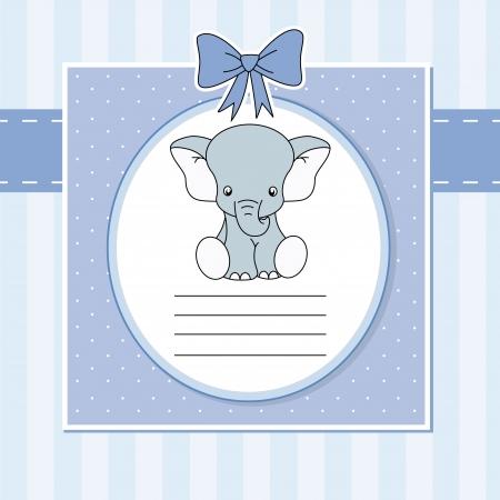 baby elephant: Baby arrival announcement card  Elephant