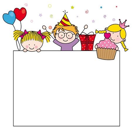 compleanno: Carino cartoni animati per bambini frame. Celebrare la festa di compleanno Vettoriali